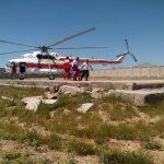 پیکر کوهنورد دلفانی از کوه گرین توسط بالگرد جمعیت هلال احمر لرستان انتقال یافت
